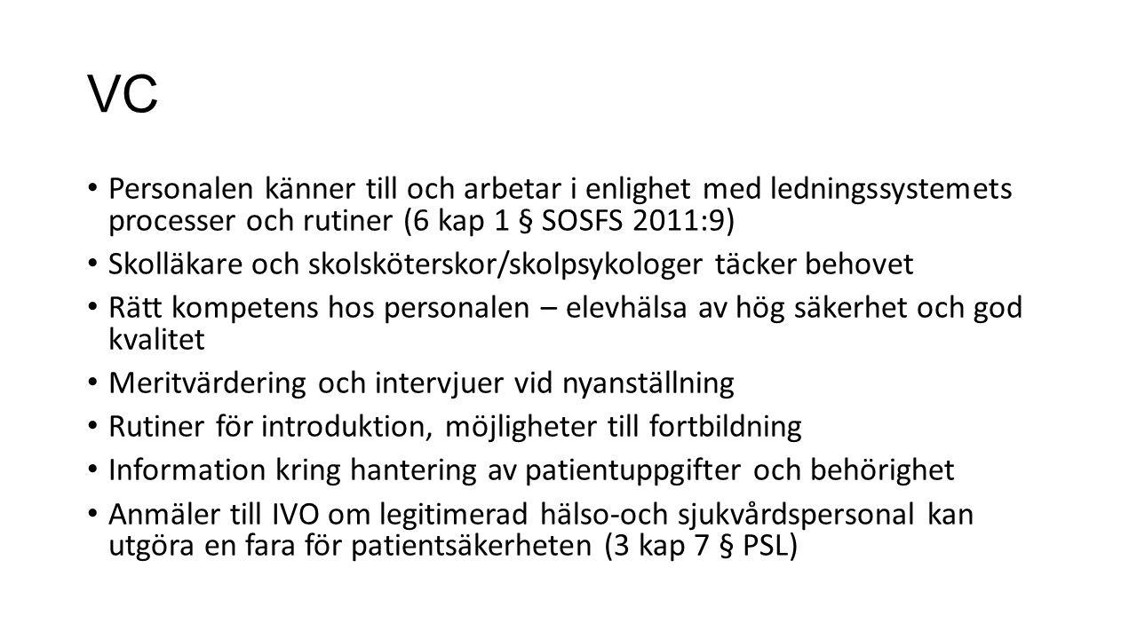 VC Personalen känner till och arbetar i enlighet med ledningssystemets processer och rutiner (6 kap 1 § SOSFS 2011:9)