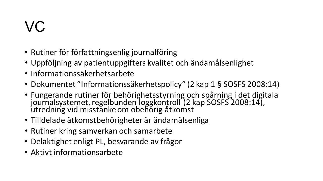 VC Rutiner för författningsenlig journalföring