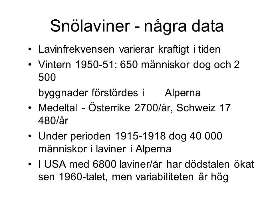 Snölaviner - några data