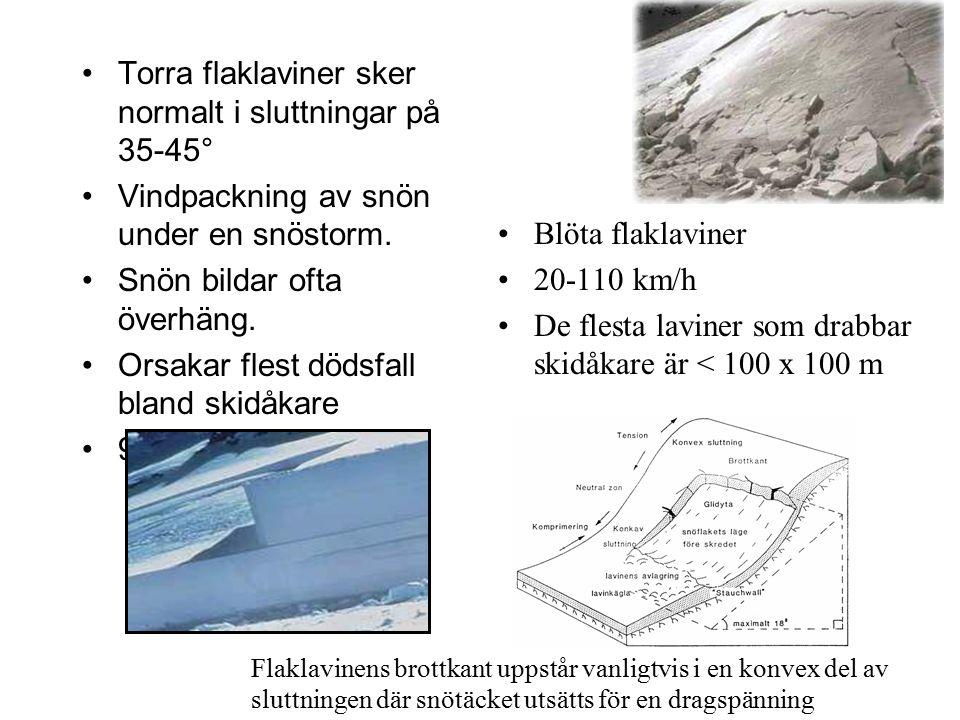 Torra flaklaviner sker normalt i sluttningar på 35-45°