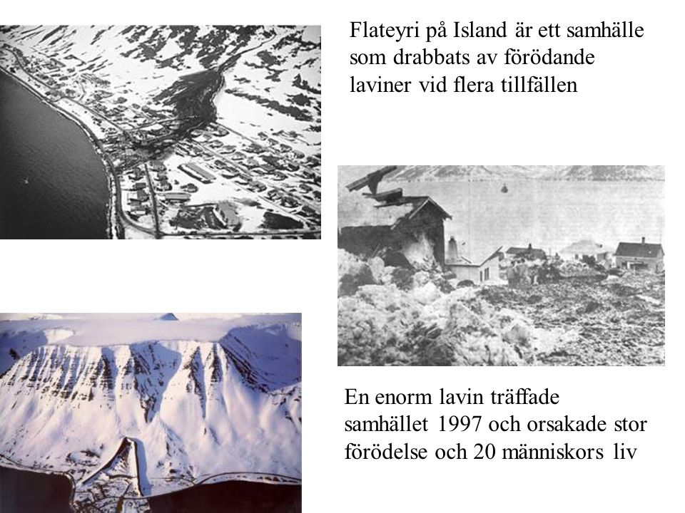 Flateyri på Island är ett samhälle som drabbats av förödande laviner vid flera tillfällen