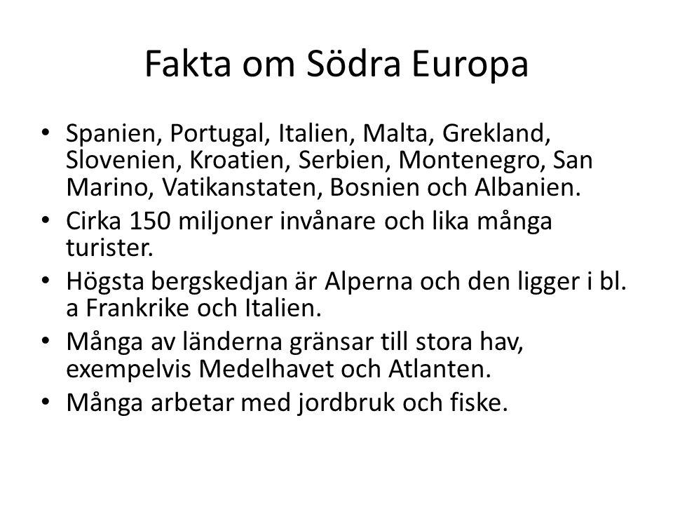 Fakta om Södra Europa