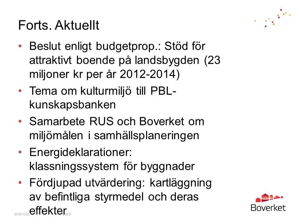 Forts. Aktuellt Beslut enligt budgetprop.: Stöd för attraktivt boende på landsbygden (23 miljoner kr per år 2012-2014)