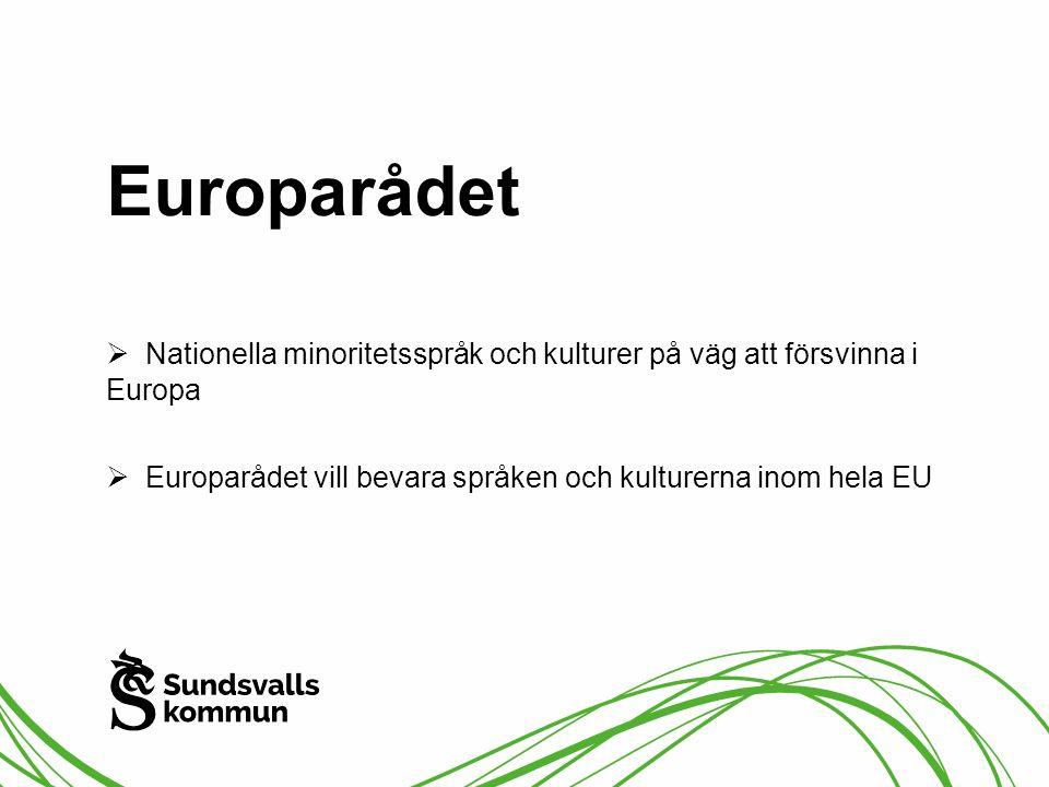 Europarådet Nationella minoritetsspråk och kulturer på väg att försvinna i Europa.