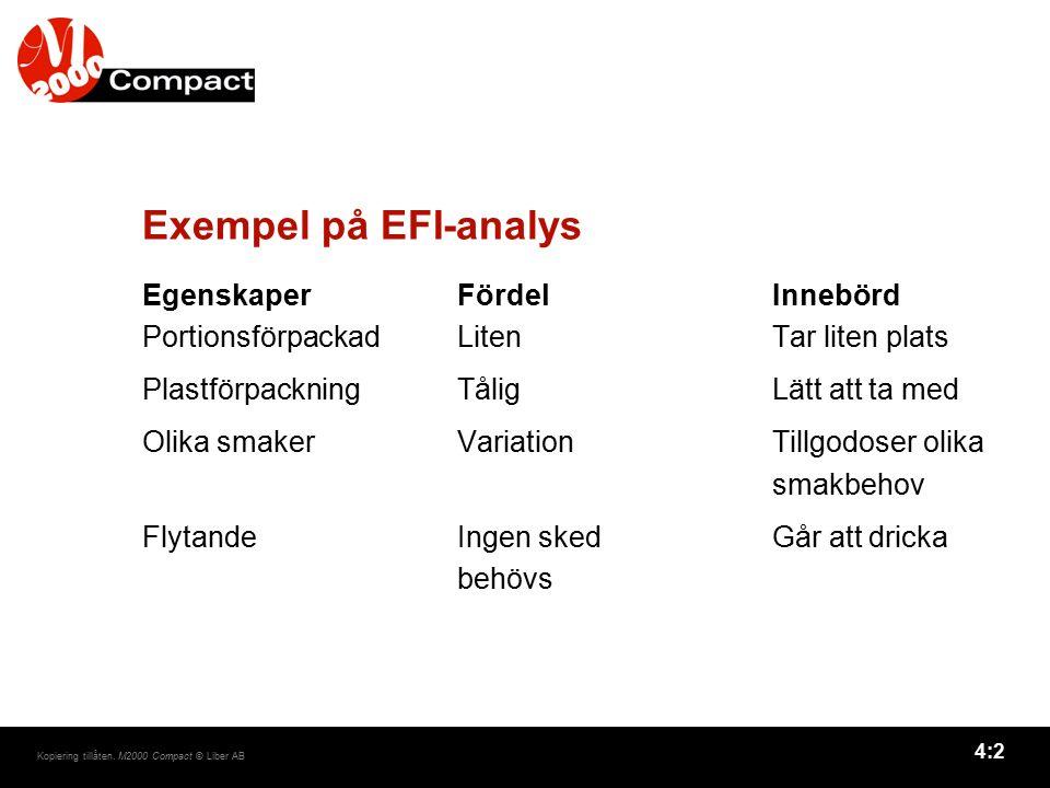Exempel på EFI-analys Egenskaper Fördel Innebörd