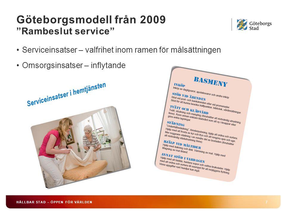 Göteborgsmodell från 2009 Rambeslut service