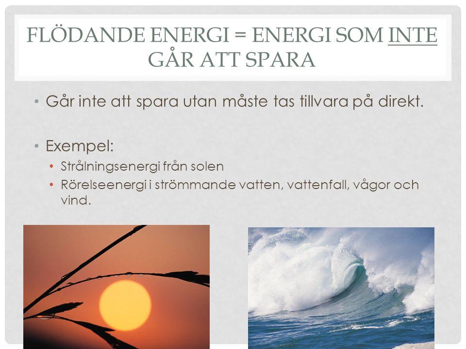 Flödande energi = Energi som inte går att spara