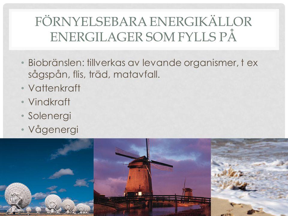 Förnyelsebara energikällor Energilager som fylls på
