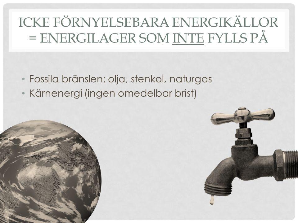 Icke förnyelsebara energikällor = Energilager som inte fylls på