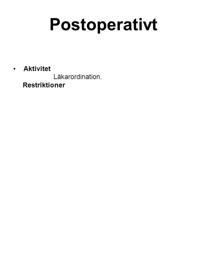 Postoperativt Aktivitet Läkarordination. Restriktioner