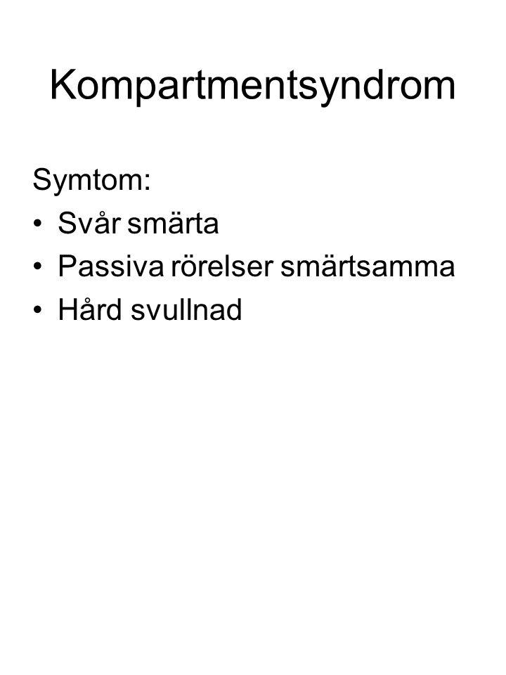 Kompartmentsyndrom Symtom: Svår smärta Passiva rörelser smärtsamma