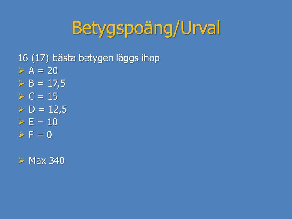 Betygspoäng/Urval 16 (17) bästa betygen läggs ihop A = 20 B = 17,5