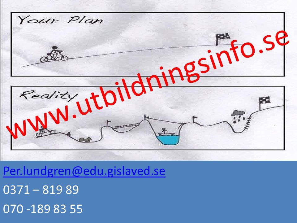 www.utbildningsinfo.se Per.lundgren@edu.gislaved.se 0371 – 819 89 070 -189 83 55