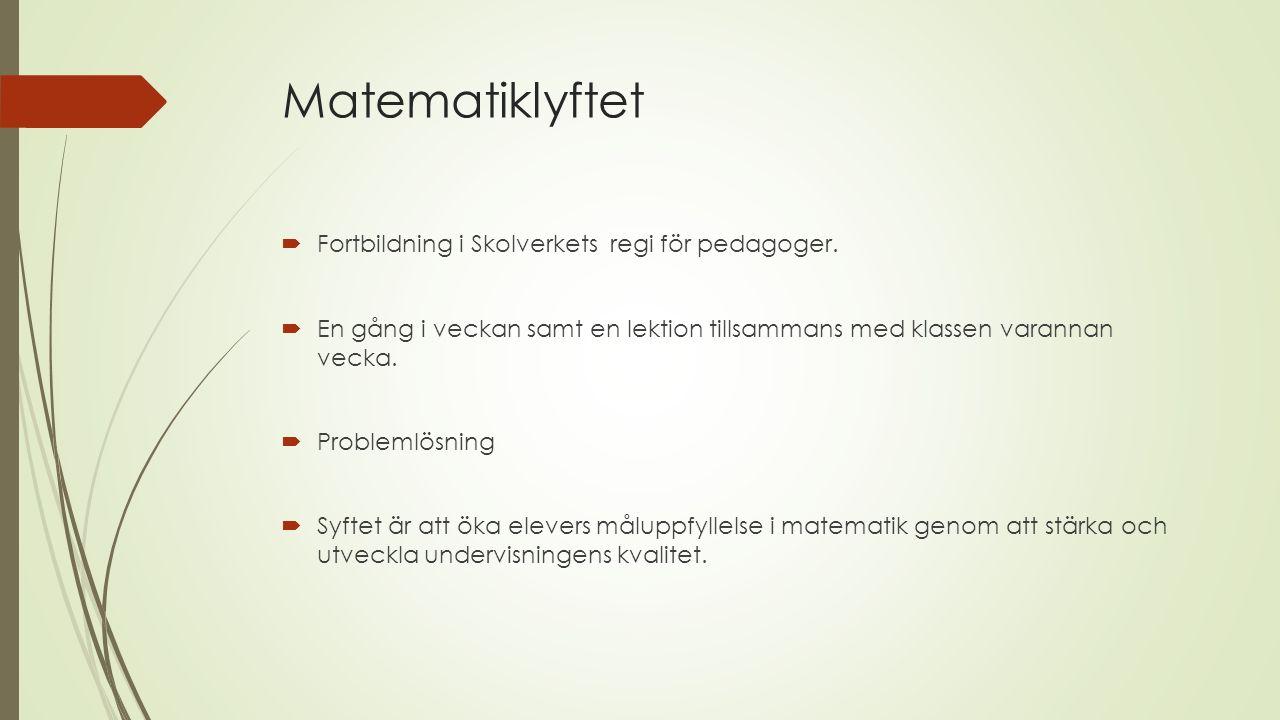 Matematiklyftet Fortbildning i Skolverkets regi för pedagoger.