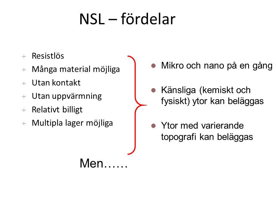 NSL – fördelar Men…… Resistlös Många material möjliga