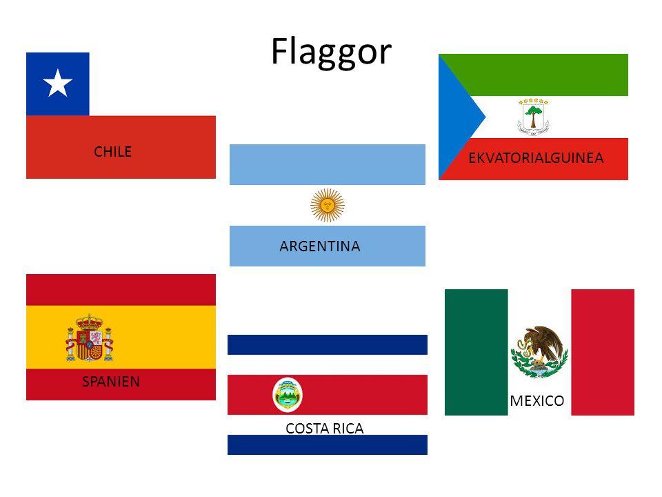 Flaggor CHILE EKVATORIALGUINEA ARGENTINA SPANIEN MEXICO COSTA RICA