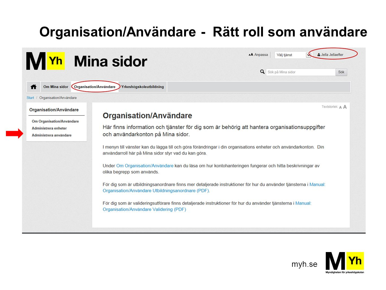 Organisation/Användare - Rätt roll som användare