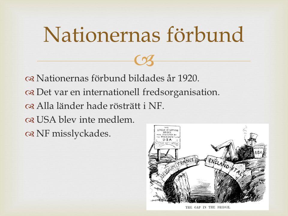 Nationernas förbund Nationernas förbund bildades år 1920.