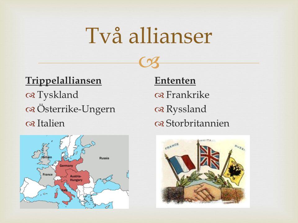 Två allianser Trippelalliansen Tyskland Österrike-Ungern Italien