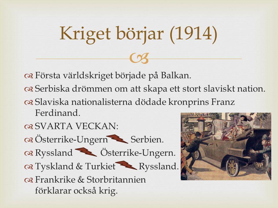 Kriget börjar (1914) Första världskriget började på Balkan.