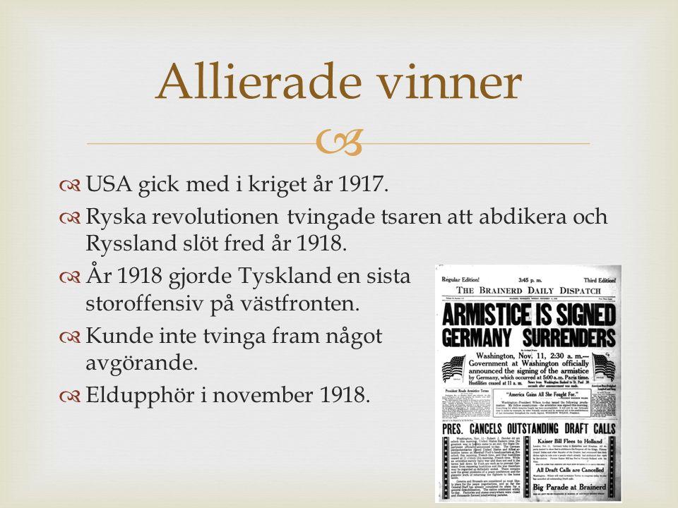 Allierade vinner USA gick med i kriget år 1917.