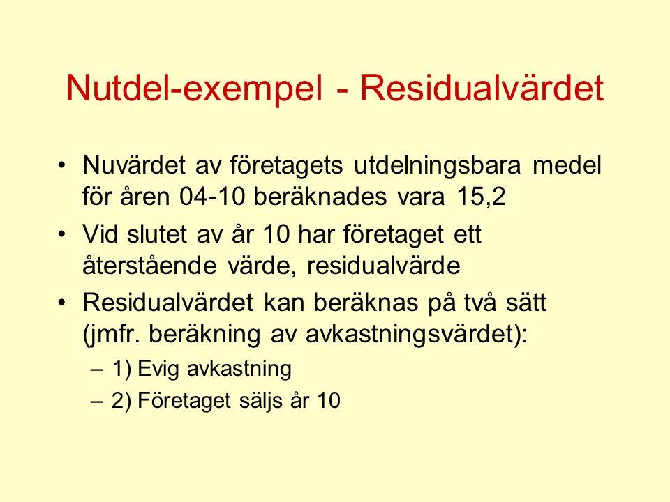 Nutdel-exempel - Residualvärdet
