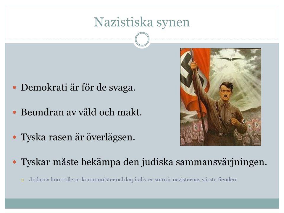 Nazistiska synen Demokrati är för de svaga. Beundran av våld och makt.