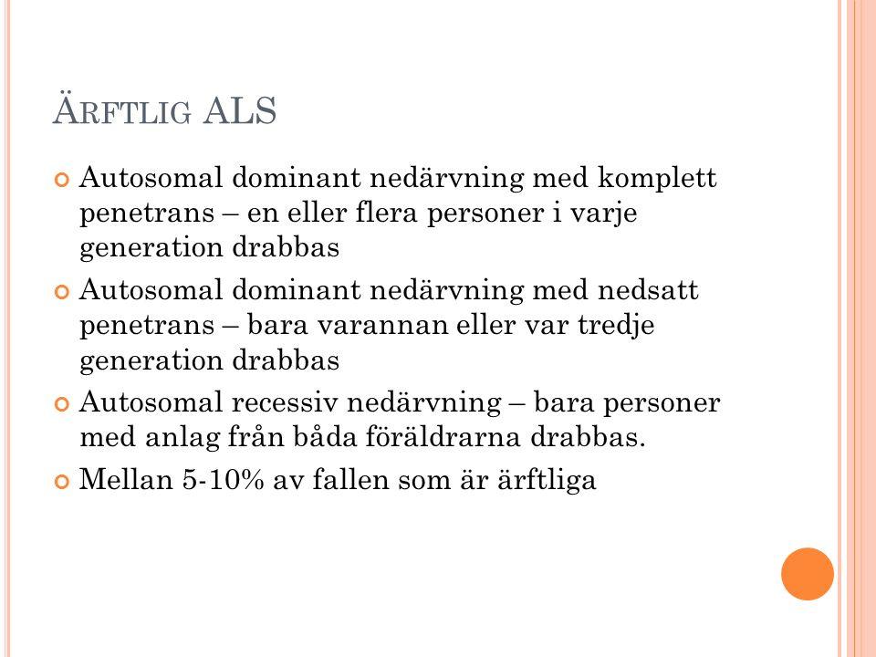 Ärftlig ALS Autosomal dominant nedärvning med komplett penetrans – en eller flera personer i varje generation drabbas.