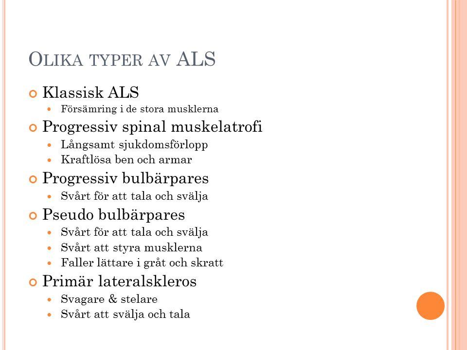 Olika typer av ALS Klassisk ALS Progressiv spinal muskelatrofi