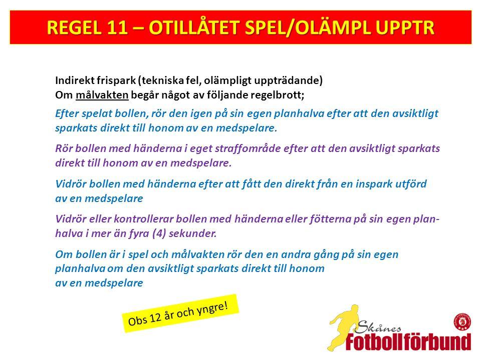 REGEL 11 – OTILLÅTET SPEL/OLÄMPL UPPTR