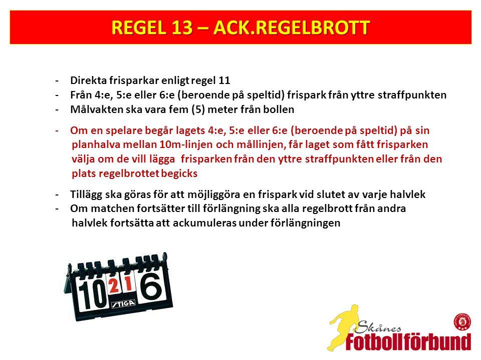 REGEL 13 – ACK.REGELBROTT Direkta frisparkar enligt regel 11