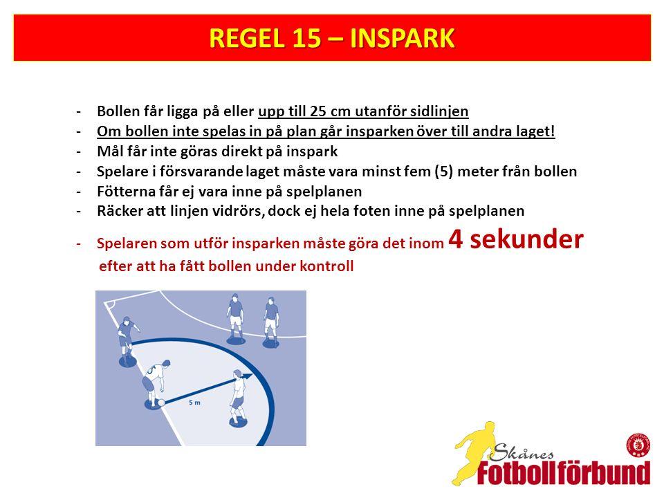 REGEL 15 – INSPARK Bollen får ligga på eller upp till 25 cm utanför sidlinjen. Om bollen inte spelas in på plan går insparken över till andra laget!