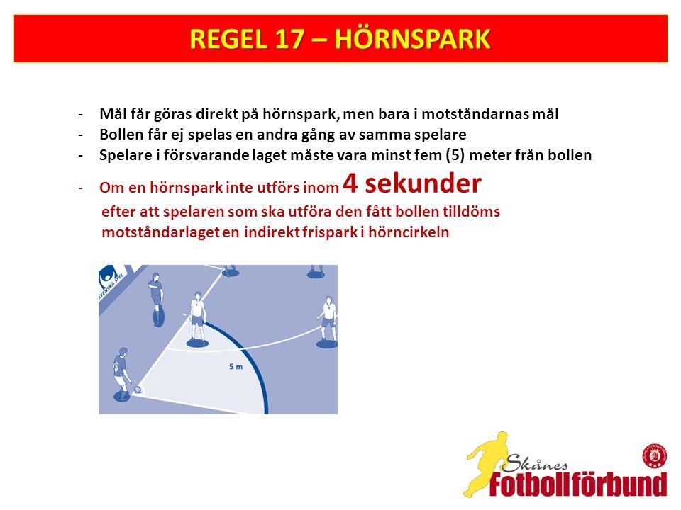 REGEL 17 – HÖRNSPARK Mål får göras direkt på hörnspark, men bara i motståndarnas mål. Bollen får ej spelas en andra gång av samma spelare.