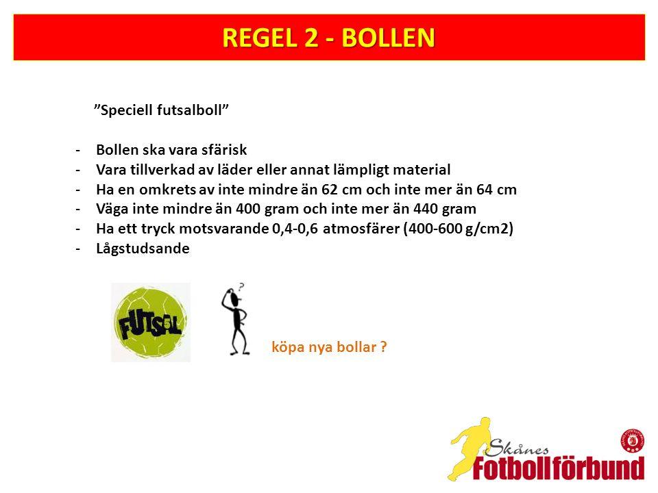 REGEL 2 - BOLLEN Speciell futsalboll Bollen ska vara sfärisk