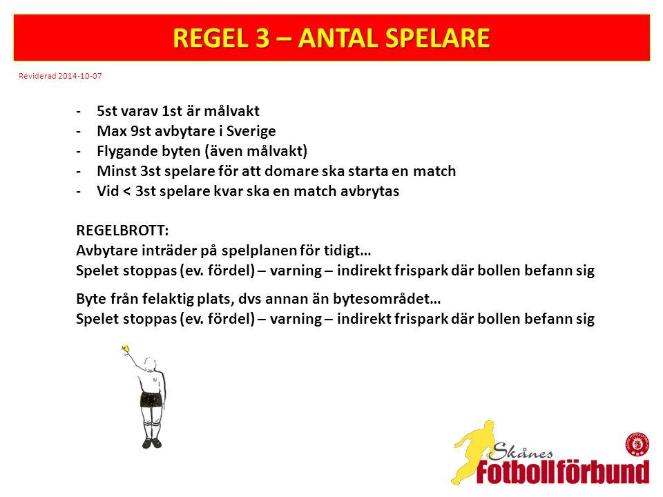 REGEL 3 – ANTAL SPELARE 5st varav 1st är målvakt