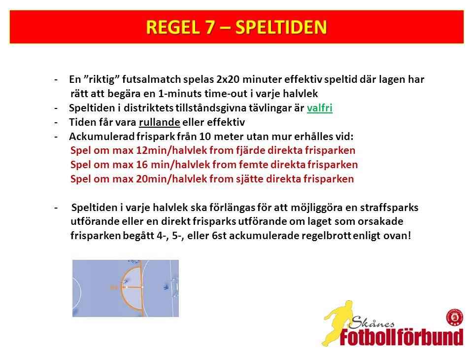 REGEL 7 – SPELTIDEN En riktig futsalmatch spelas 2x20 minuter effektiv speltid där lagen har. rätt att begära en 1-minuts time-out i varje halvlek.