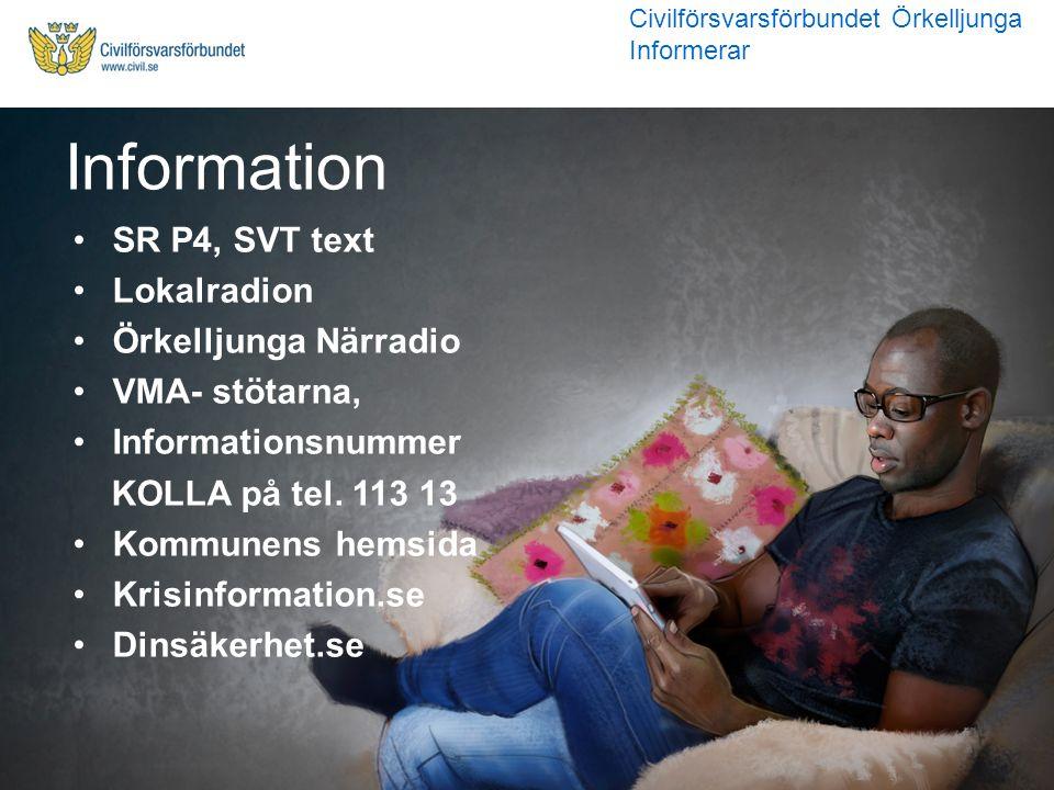 Information SR P4, SVT text Lokalradion Örkelljunga Närradio