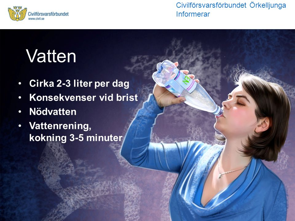Vatten Cirka 2-3 liter per dag Konsekvenser vid brist Nödvatten