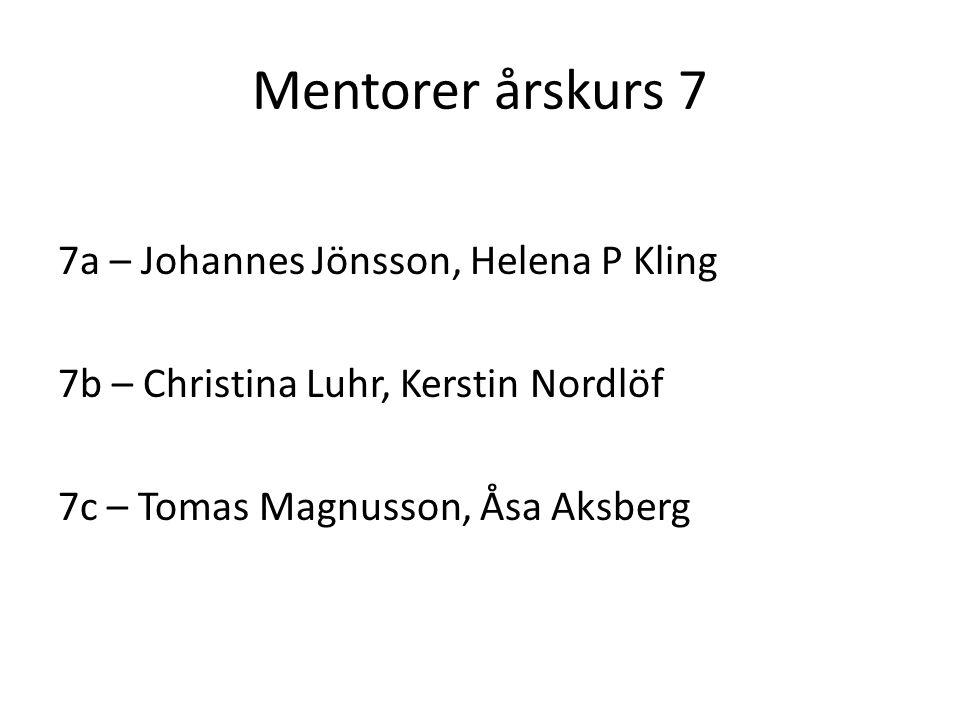 Mentorer årskurs 7 7a – Johannes Jönsson, Helena P Kling 7b – Christina Luhr, Kerstin Nordlöf 7c – Tomas Magnusson, Åsa Aksberg
