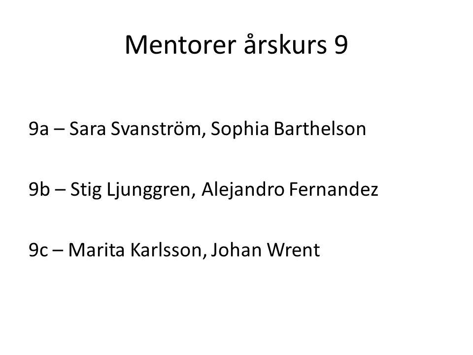Mentorer årskurs 9 9a – Sara Svanström, Sophia Barthelson 9b – Stig Ljunggren, Alejandro Fernandez 9c – Marita Karlsson, Johan Wrent