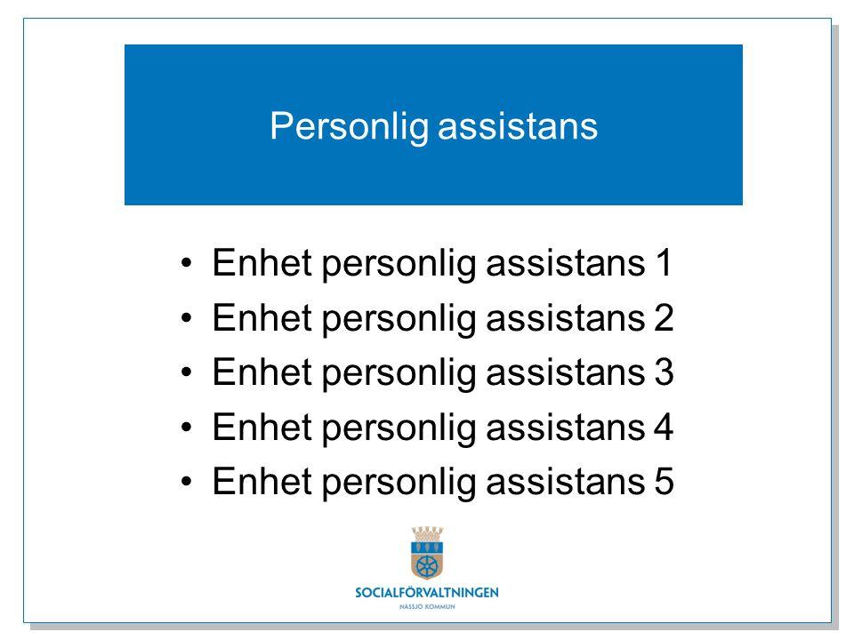 Enhet personlig assistans 1 Enhet personlig assistans 2