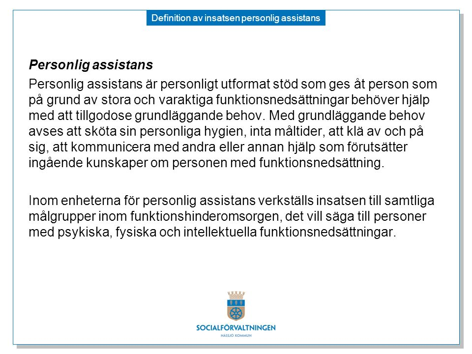 Definition av insatsen personlig assistans