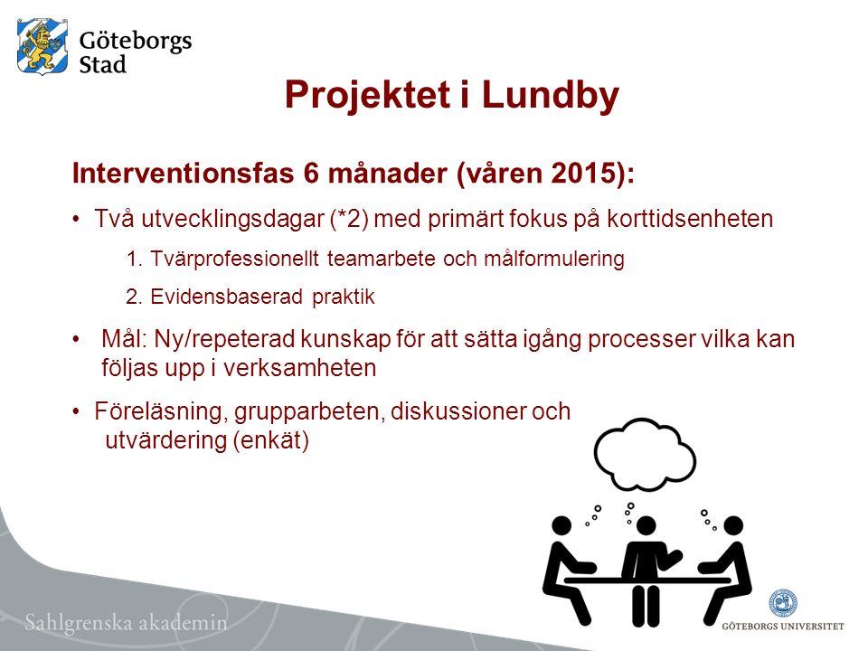 Projektet i Lundby Interventionsfas 6 månader (våren 2015):