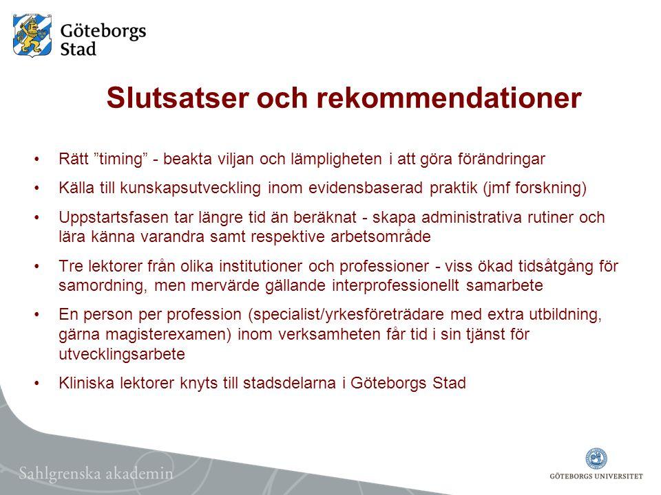 Slutsatser och rekommendationer