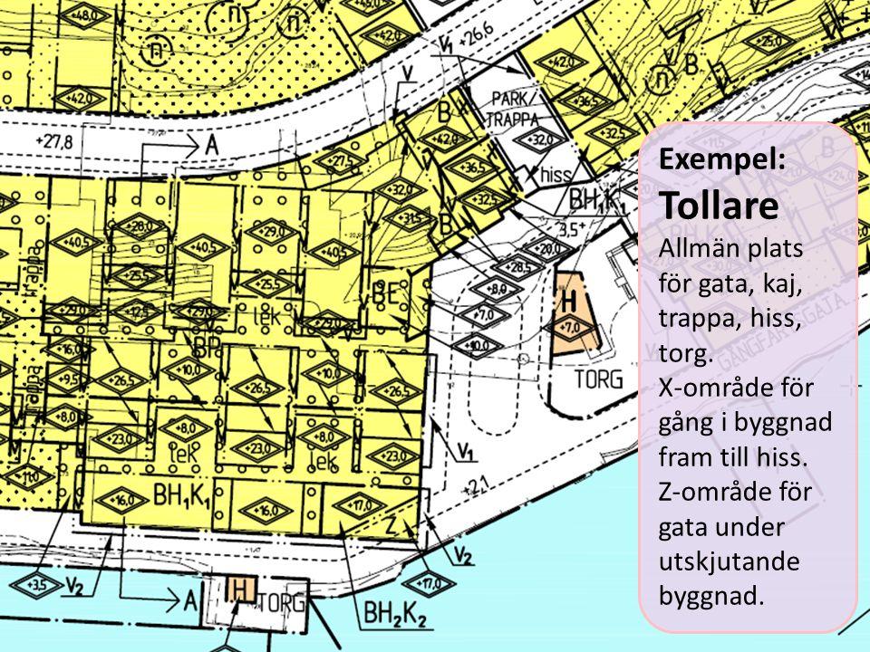 Tollare Exempel: Allmän plats för gata, kaj, trappa, hiss, torg.