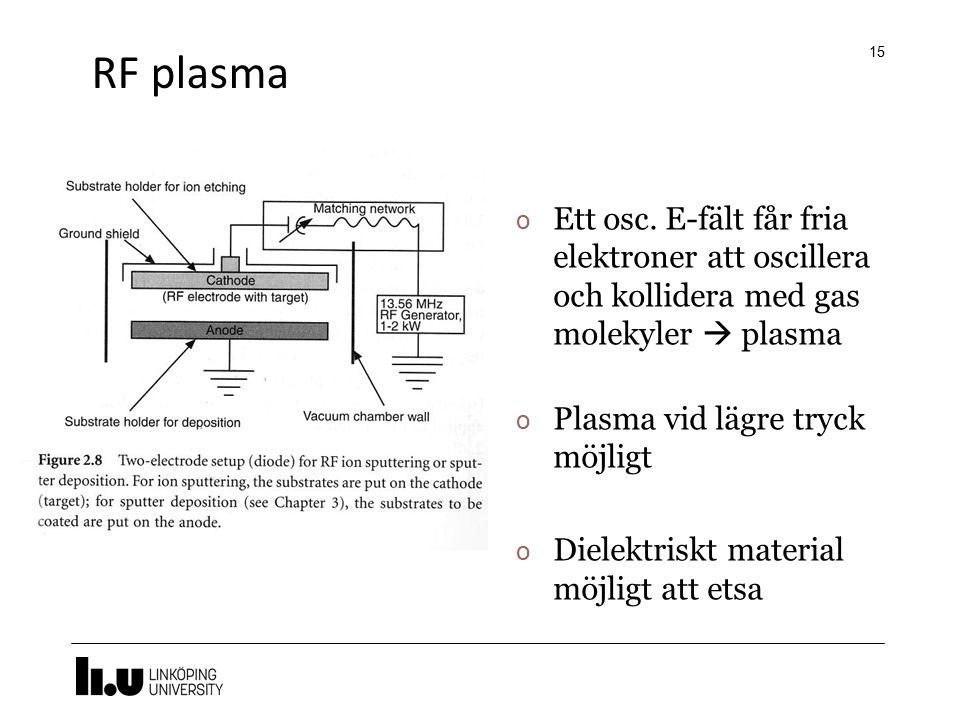 RF plasma Ett osc. E-fält får fria elektroner att oscillera och kollidera med gas molekyler  plasma.