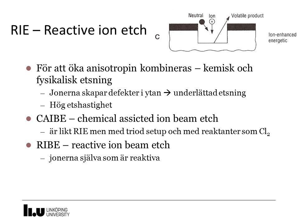 RIE – Reactive ion etch För att öka anisotropin kombineras – kemisk och fysikalisk etsning. Jonerna skapar defekter i ytan  underlättad etsning.