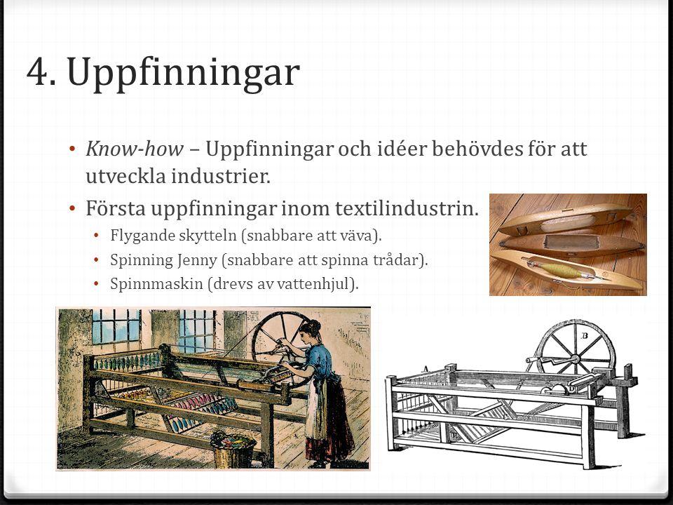 4. Uppfinningar Know-how – Uppfinningar och idéer behövdes för att utveckla industrier. Första uppfinningar inom textilindustrin.