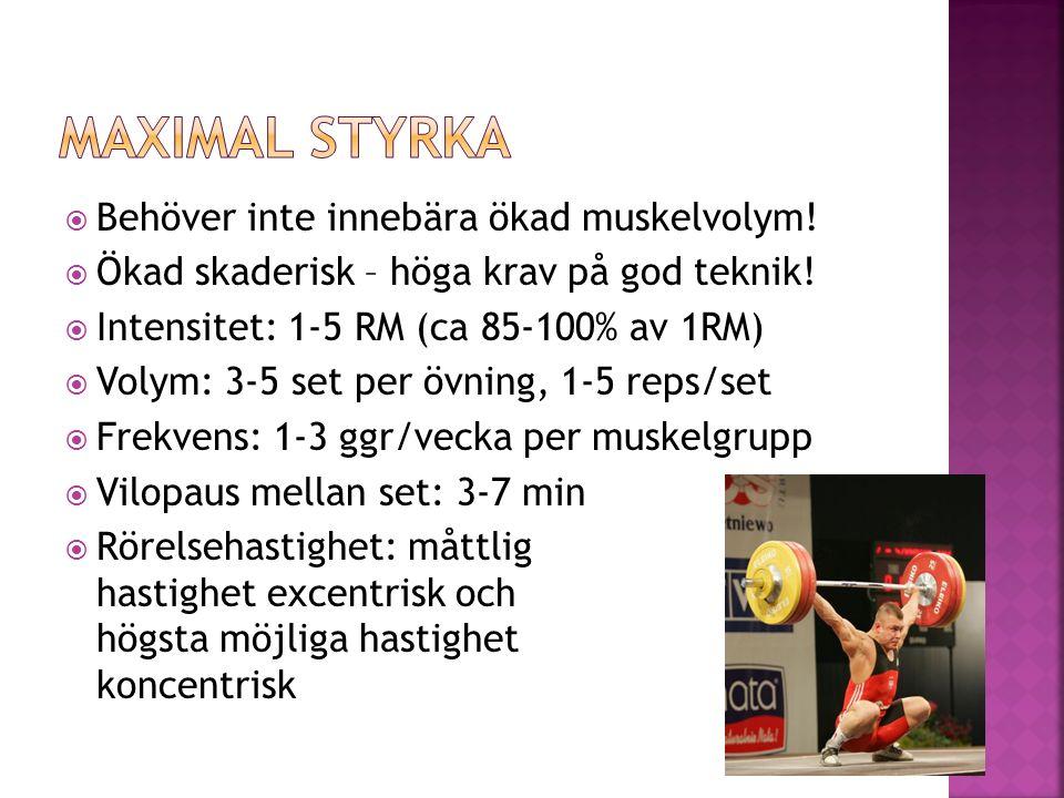 Maximal styrka Behöver inte innebära ökad muskelvolym!