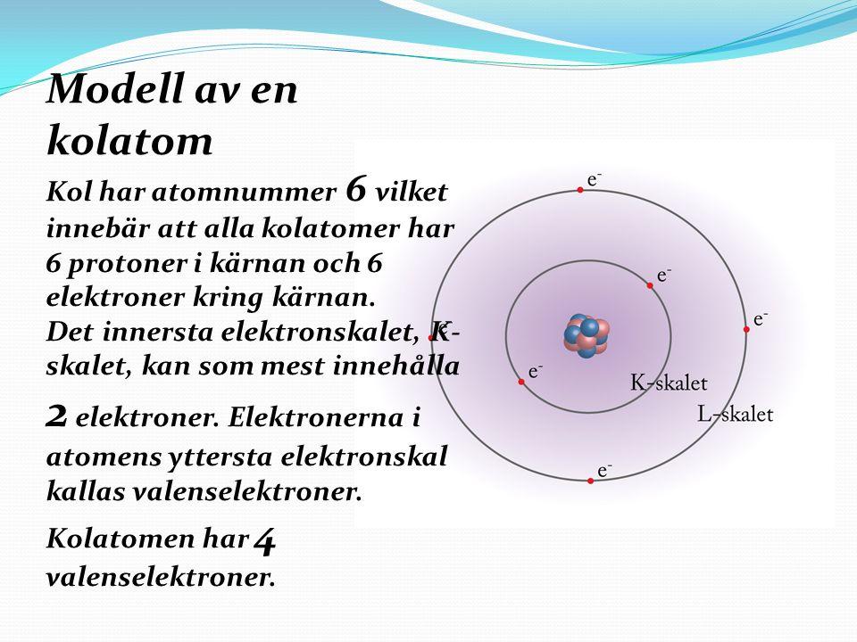 Modell av en kolatom Kol har atomnummer 6 vilket innebär att alla kolatomer har 6 protoner i kärnan och 6 elektroner kring kärnan.